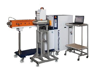 基本装置(PC付属)+専用架台(OP)+二軸セグメント押出機(OP)+重量フィーダ(OP)+PCラック(OP)