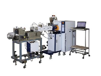 基本装置(PC付属)+専用架台(OP)+二軸押出機(OP)+Tダイ(OP)+引取装置(OP)+PCラック(OP)